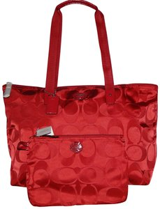 Coach Foldable 2 Piece Cherry Signature Red Travel Bag