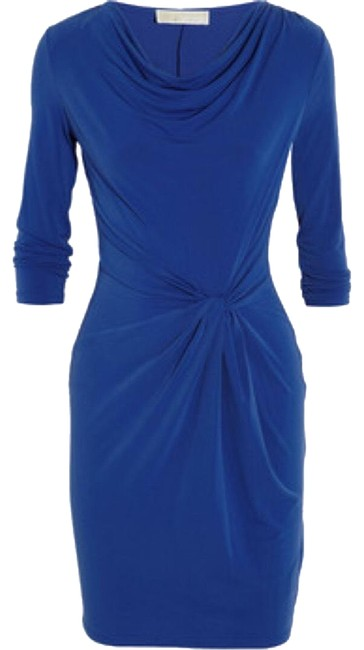 Michael Kors Blue Jersey Draped Stretch Crepe 3/4 Sleeves Mid-length Cocktail Dress Size 6 (S) Michael Kors Blue Jersey Draped Stretch Crepe 3/4 Sleeves Mid-length Cocktail Dress Size 6 (S) Image 1