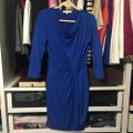 Michael Kors Blue Jersey Draped Stretch Crepe 3/4 Sleeves Mid-length Cocktail Dress Size 6 (S) Michael Kors Blue Jersey Draped Stretch Crepe 3/4 Sleeves Mid-length Cocktail Dress Size 6 (S) Image 2