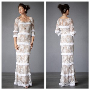 BHLDN Ivory Nude Lace Esprit De Corps Gown Vintage Wedding Dress Size 6 (S)