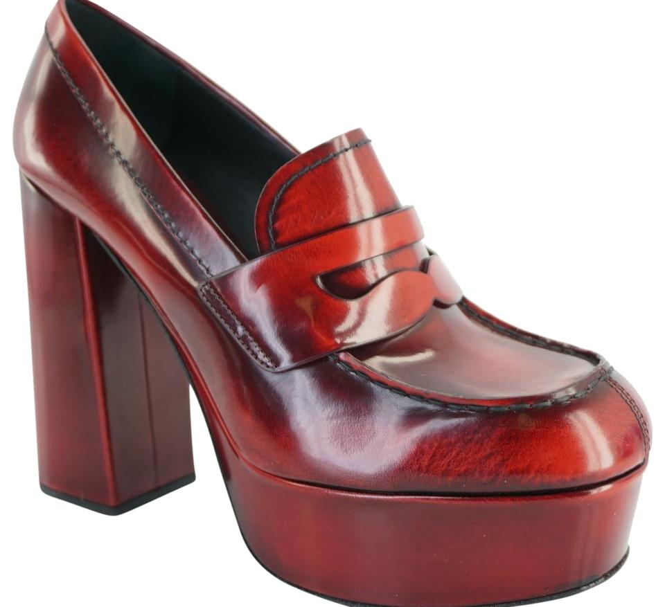 9a5866ad9a1 Prada Red Leather Anitqued Penny Loafer Block Heel Pumps Platforms ...
