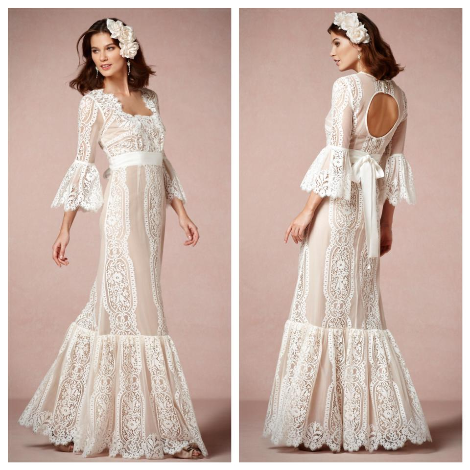 BHLDN Ivory Lace Arabella Gown Nwot Vintage Wedding Dress Size 4 (S ...