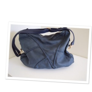 Black Rivet Satchel in dark blue