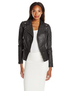 Dawn Levy Moto Biker Leather Quilted Motorcycle Jacket