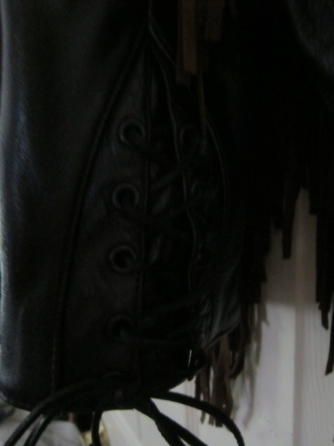 LEATHER GALLERY Fringe Well-made Suede BLACK/BROWN Leather Jacket