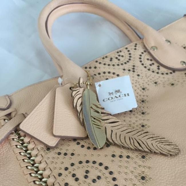 Item - Trendy Embellished Apricot Leather Tote
