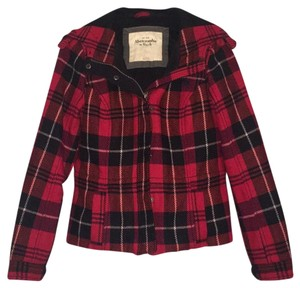 Abercrombie & Fitch Plaid Plaid Coat Hooded Red Jacket