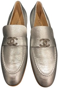 Chanel Oxford Loafer Mule Slide silver Flats