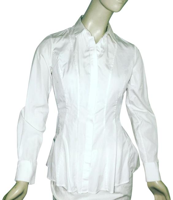 Item - White Cotton Flared Long Blouse Button-down Top Size 4 (S)