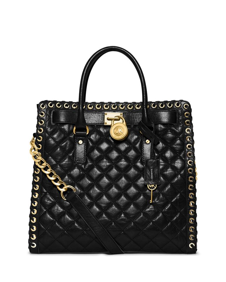 Michael Kors Hamilton Ns Large Hippie Grommet Quilted Gold
