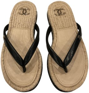 Chanel Logo Espadrille Flip Flop black Sandals