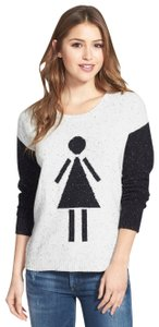 Kensie Symbol Knit Flecked Color-blocking Abstract Sweater