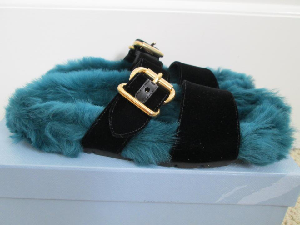 9ae8f2ca959 Prada Blue Teal Fur Velvet Strap Flat Slide Sandals Size EU 38 (Approx. US  8) Regular (M