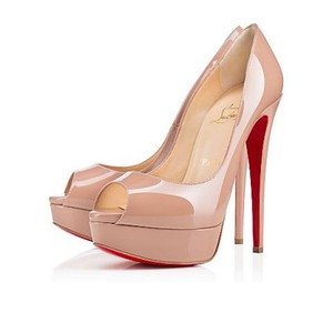 Christian Louboutin Lady Peep Toe Stiletto Platform Patent nude Pumps