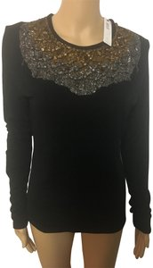 Donna Karan Top Black with gold and silver