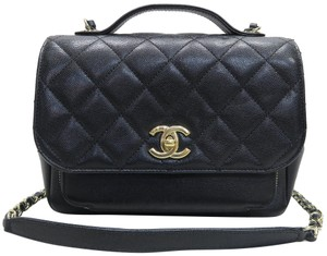 Chanel Cc Caviar Satchel in black