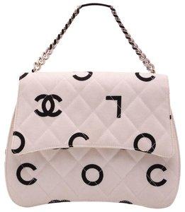 Chanel Balck Vintage Coco Satchel in White, Black