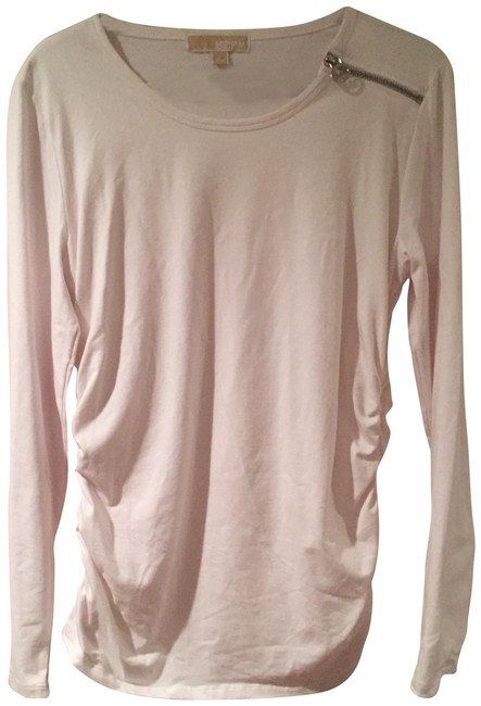 Item - White Knit Silver Zipper Detailed Ruched Sides Maternity Top Size 12 (L, 31, 32)