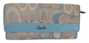 COACH COACH TRIFOLD WALLET WITH CHECKBOOK BLUE KHAKI AUTHENTIC RARE