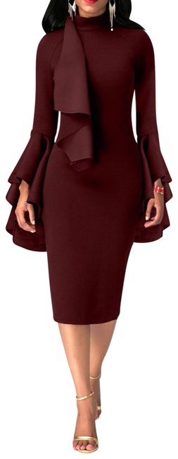 Item - Burgundy/ 12-14 Flare Sleeve Mock Neck Sheath Mid-length Formal Dress Size 12 (L)