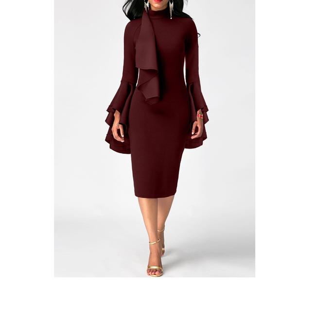 Item - Burgundy Ladies Long Sleeve Flare Sleeve Mock Neck Sheath Mid-length Formal Dress Size 12 (L)
