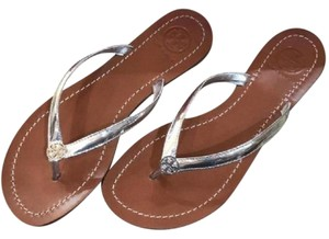 Tory Burch Slip On Tags silver Sandals
