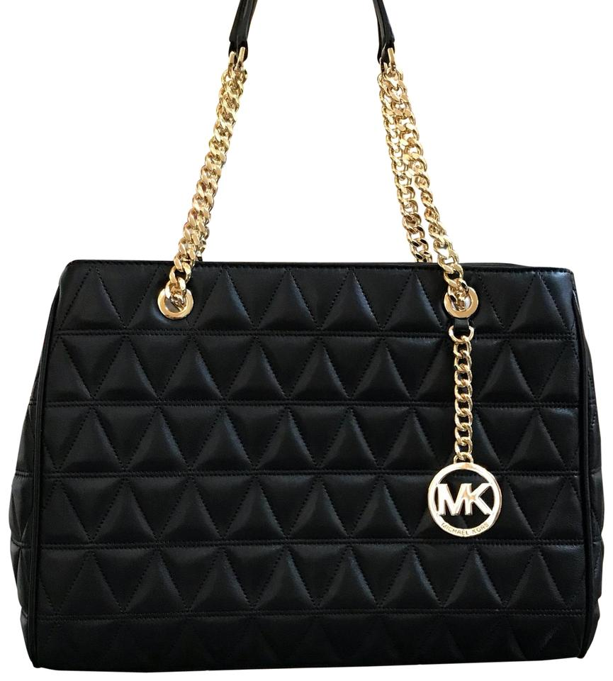 7730e49e0ec2e1 Michael Kors Susannah Large Tote Chain Quilted Handbag Black Lamb Leather Shoulder  Bag