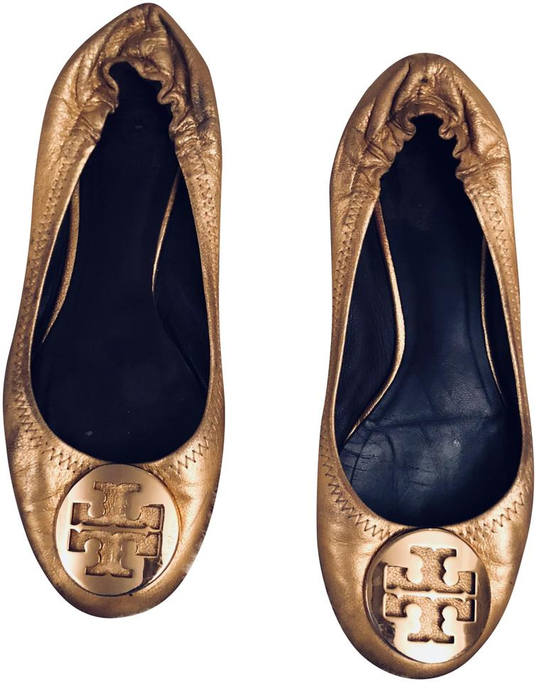 6182f81fefeb Tory Burch Gold Reva Ballet Flats Size US 6.5 Regular (M