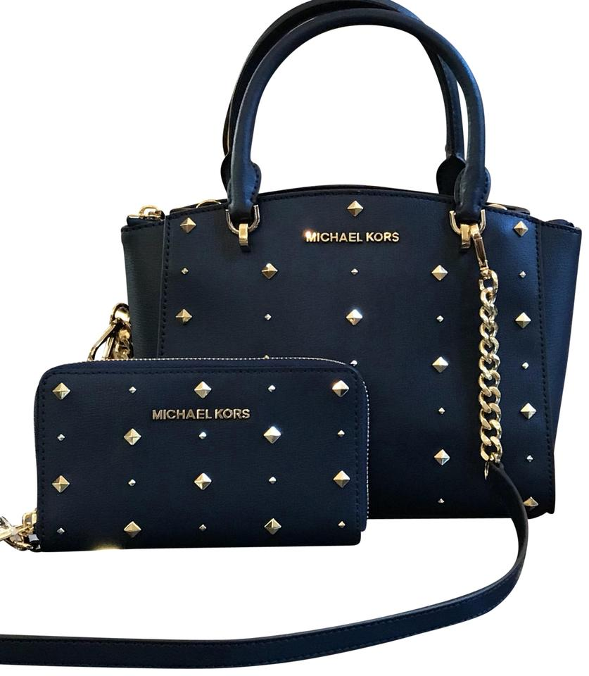 ea10e9a2b69a Michael Kors Leather Mother s Day Gift Studded Satchel in navy Image 0 ...