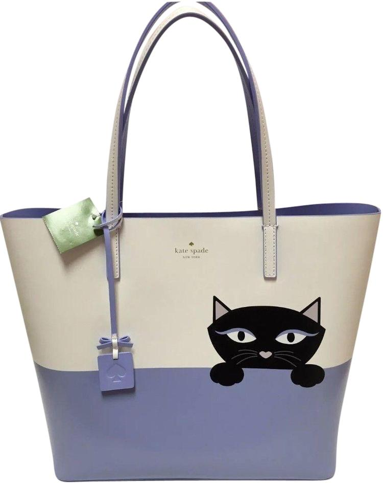 6a3230f0a4ed Kate Spade Little Len Jazz Things Up Peeking Cat Large Nw White Blue ...