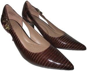Circa Joan & David Pointed Toe Patent Cut-outs Brown Beige Rust Pumps