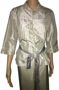 Armani Collezioni Silk Vintage Made In Slovakia Top beige with stripes