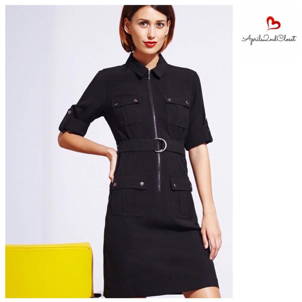 shop amazing price buy cheap Sharagano Black Belted Shirtdress Short Casual Dress Size 6 (S ...
