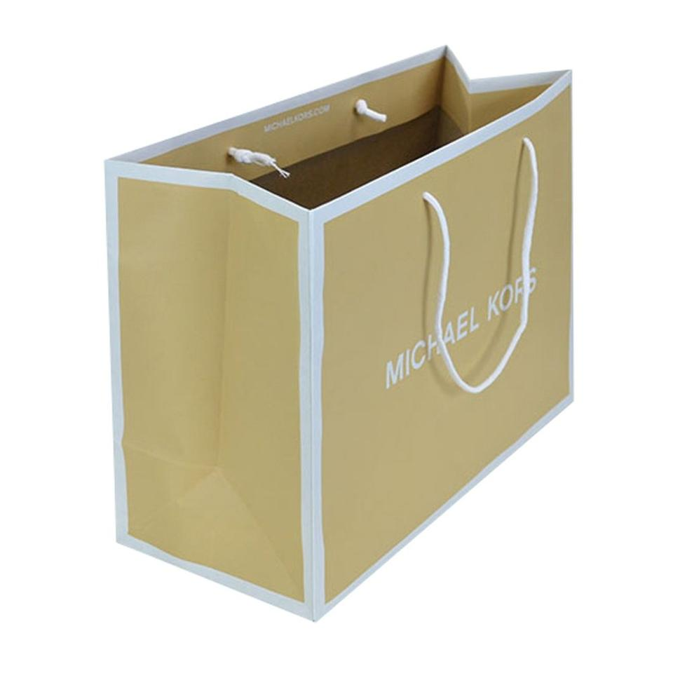 3d452808bd20 Michael Kors Shopping Gift Small Paper Tote in Tan and White Image 0 ...