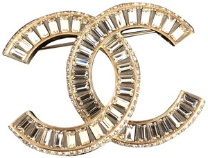 Chanel Chanel Classic Large Emerald-Cut Crystal Gold Metal Brooch Pin