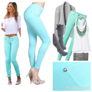 Boutique Branded Mint & Hot Leggings