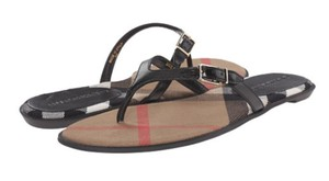 Burberry Leather New In Box Black Sandals