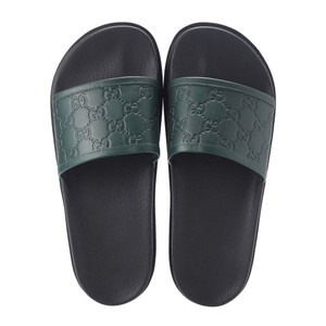 Gucci Green / Black Leather Gg Guccissima Sandals Flip Flops 9 10 #431070 Shoes