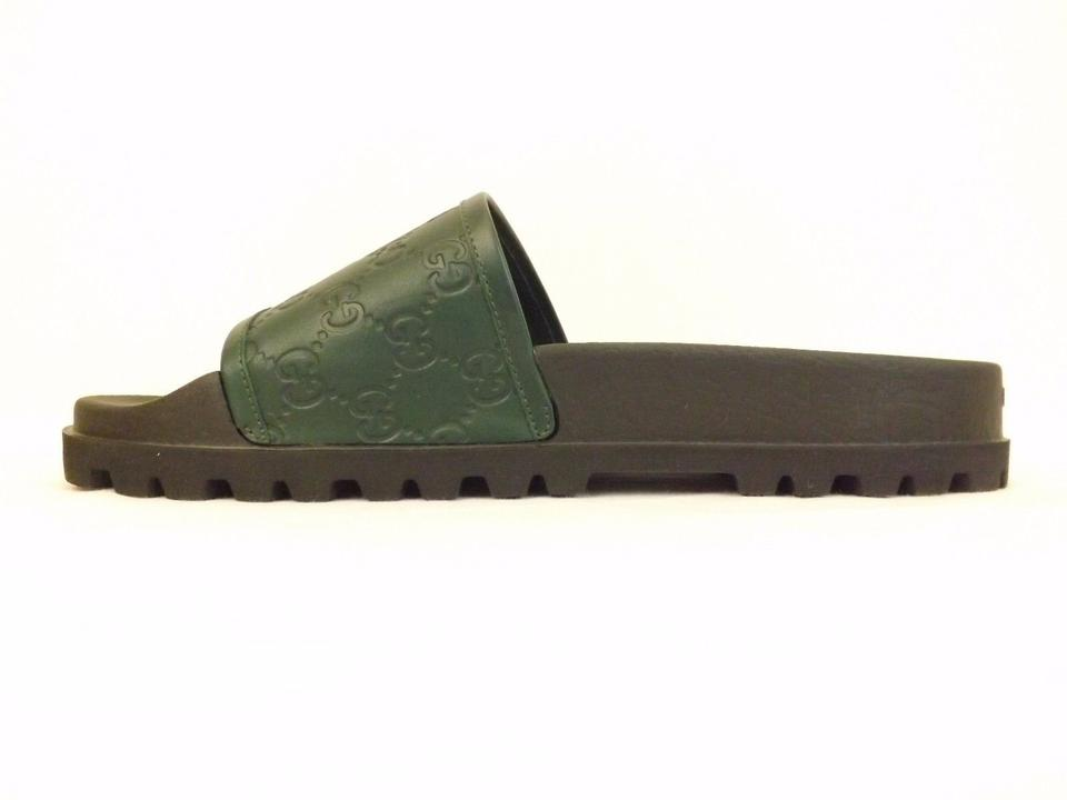 f4fd0dd28afba Gucci Green   Black Leather Gg Guccissima Sandals Flip Flops 9 10  431070  Shoes Image. 123456789101112