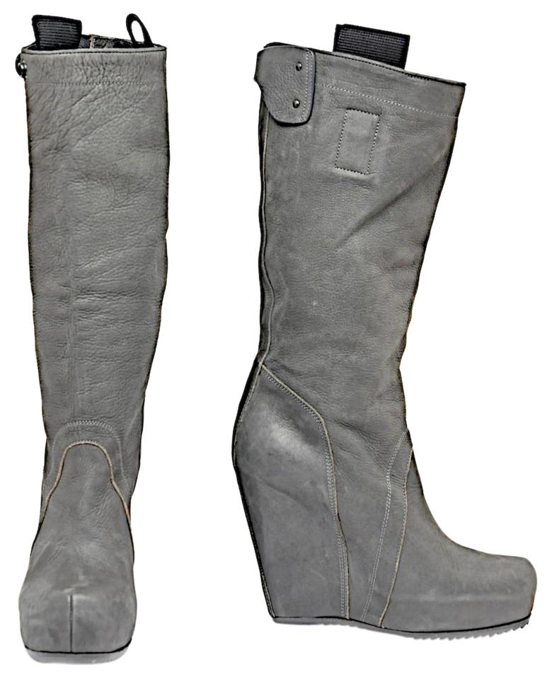 8b5201401cfc Rick Owens Grey Knee-high Pebble Leather Hidden Platform Wedge Boots ...
