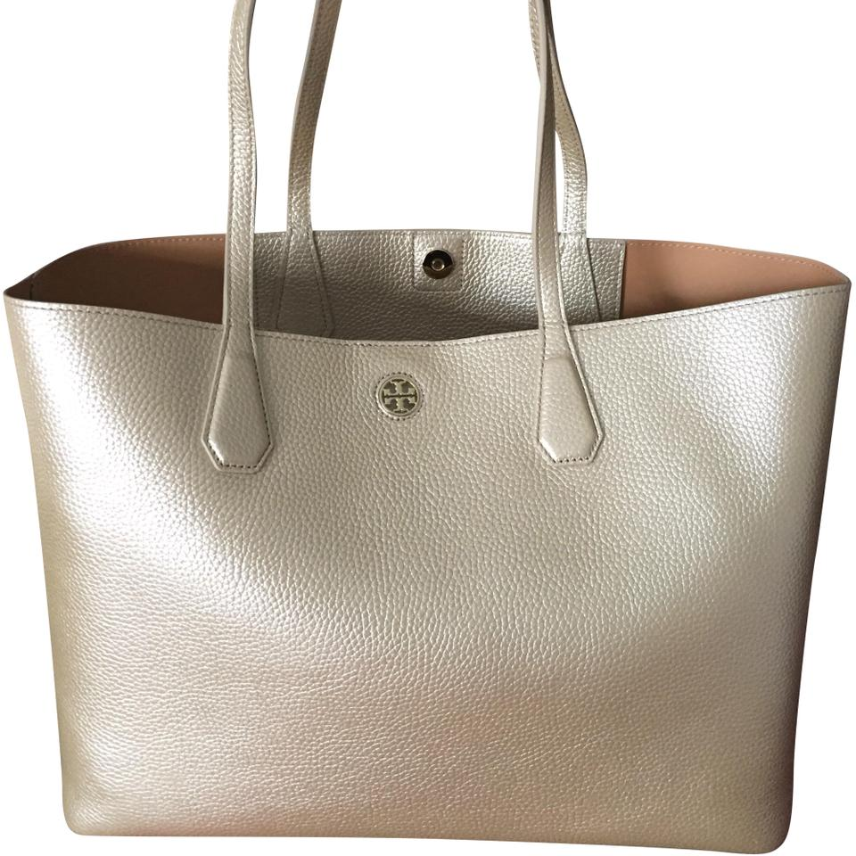 33af7f0a89e Tory Burch Perry Gold Leather Tote - Tradesy