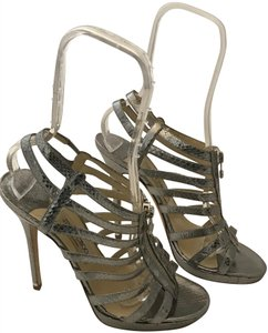 Jimmy Choo Gladiator Caged Snake Embossed silver Platforms