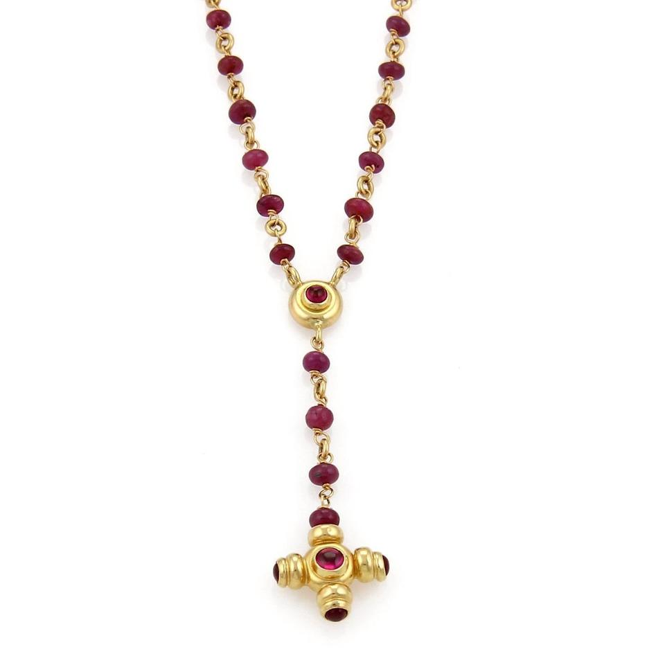 015b06fc83d Other Vintage 18k Yellow Gold Ruby Cross Pendant Rosary Beaded Necklace  Image 0 ...