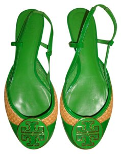 Tory Burch Green Patent Leather/Straw Flats