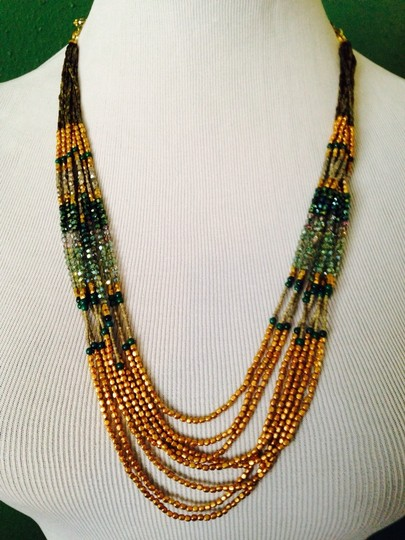Nakamol NWOT Multi-Strand Shades Of Green & Gold Cord Necklace
