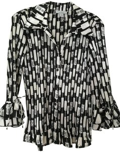 Dress Barn Rouched Rouching Flirty Button Down Shirt Black & White