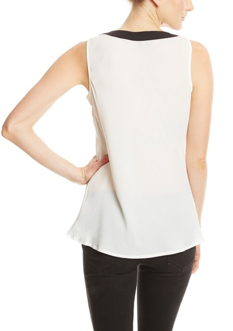 Spense Scoop Neck Front Drape Detail Top Black/White