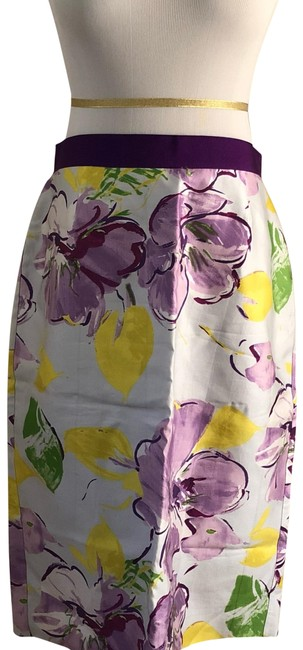 Item - White Purple Yellow Green Floral Pencil Skirt Size 8 (M, 29, 30)