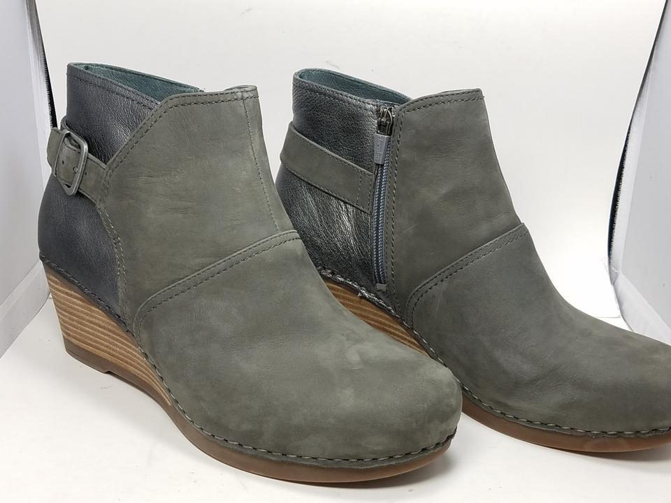 1e576b581797 Dansko Gray New Shirley Womens Wedge Ankle Leather Boots Booties ...