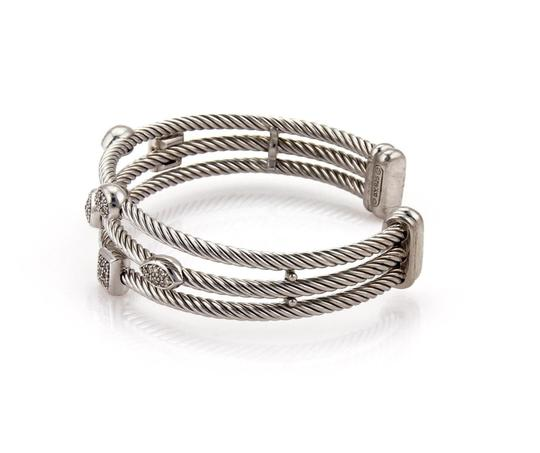 David Yurman Diamond Sterling Silver Triple Cable Row Fancy Cuff Bracelet Image 1